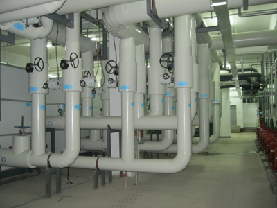 Piping system for chiller unit